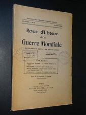 REVUE D'HISTOIRE DE LA GUERRE MONDIALE - Juillet 1933 - 11ème ANNÉE n°3