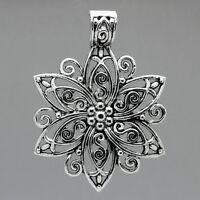 25 Antik Silber Filigran Blumen Charm Anhänger 6.6cm x 4.8cm B23485
