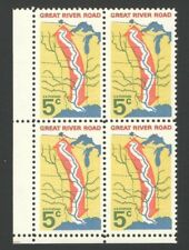 Vintage Unused US Postage Block 5 Cent Stamps GREAT RIVER ROAD