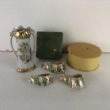 Antique Hair Pin Boxes, Shell Napkin Rings Base