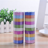 10x Glitter Washi Paper Adhesive Tape DIY Craft Sticker Masking Decor 1.5cmx3m F