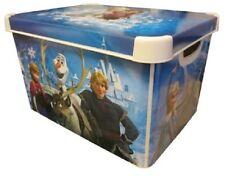 DISNEY FROZEN Dormitorio Almacenamiento Caja Caja De Juguetes Con Tapa 22L plástico Elsa Anna Olaf