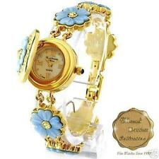 MARCEL DRUCKER LADIES DAISY BRACELET WATCH WITH CRYSTALS/ LIFT UP FLOWER BEZEL