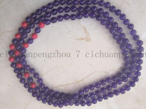 """Natural 6/8/10mm Purple Amethyst & Red Coral Round Gems Beads Long Necklace 54"""""""