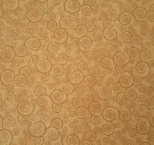 Harmony Cotton Bty Quilting Treasures Blender Curly Scroll Camel Tan