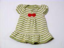 "Gymboree ""Cherry Cute"" Cherries Green & White Striped Sweater Dress, 3-6 mos."