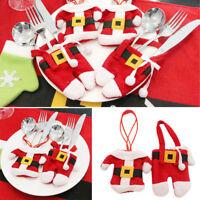 2X Cutlery Silverware Bag Pockets Cute Christmas Santa Holder Dinner Table Decor