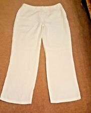 MARKS & SPENCERS 100% LINEN White Trousers Size 14 Medium