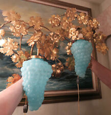 2 Vintage Murano Blue Opaline Grape Glass tole Sconce lamp Florentine Italy mark