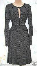 Tamaño 14 Estilo Vintage Años 30 años 40 Segunda Guerra Mundial landgirl Té Vestido Peplum ~ US 10 EU 42