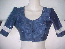 NEW Navy Blue STUNNING Choli SARI BLOUSE Dazzling STYLE Belly BALLROOM Dance TOP
