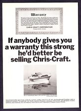 "1965 Chris-Craft 38' Constellation Salon photo ""Strong Warranty"" print ad"