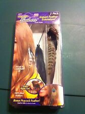 New 2 pack Instant Feather Extensions real snap on feathers As Seen on TV brand