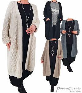 LAGENLOOK Strick-Jacke long L-XL-XXL-XXXL 42 44 46 48 50 52 54 56 schwarz grau