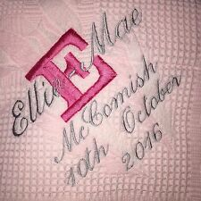 Personalised embroidered pink shawl with a initial name and date birth birthday
