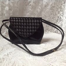 Vintage Vanguard Black Patent & Ribbon Weave Flap Over, Shoulder, Cross Body Bag