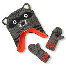 Toddler Boys Raccoon Knit Hat And Mittens Set size XS (6-12 MOS)