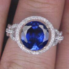 1,50KT 585er Weißgold Natürlich blau Tansanit EGL Zertifiziert Diamant Ring