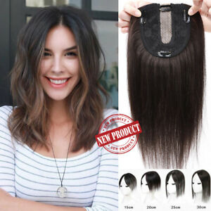 Clip In Women Topper 100% Remy Human Hair Extensions Hair Piece Toupee Mono Base