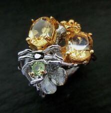 Citrin Vintage Unikat Ring 925 Sterlingsilber Handarbeit 41,5ct Größe 56 R760