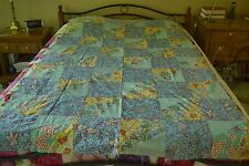 "Vintage Colorful Feedsack & Flannel Quilt Top, 55"" x 82"", Twin, M108"