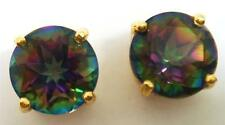 3.60ct Mystic Topaz Earrings in 14k Gold Overlay 925 Sterling Silver