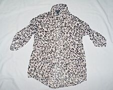 SEXY~Women's Sz.S RUE 21 sheer button front animal print l.s Shirt~See Through