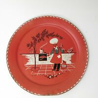"""Vtg Mid Century Stoyke BBQ Metal Platter 19"""" Round Party Tray Chef Grill"""