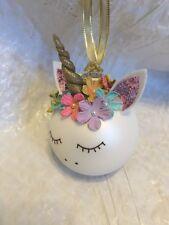 Personalized Unicorn Glass Ball Christmas Ornament Handmade