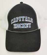 Capitals Hockey trucker cap black front white mesh sides adjustable Verizon logo