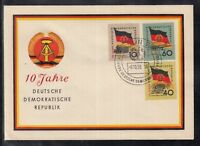 U 01 ) East Germany DDR 1959 10 years of GDR flags of 4 beautiful FDC