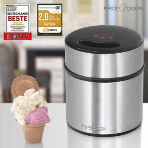 Ice Cream Maker Machine Stainless steel Frozen Yoghurt 1.8 Litre Profi Cook 1140