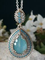 AAA QUALITY ! 925 SILVER JEWELRY TURKISH STYLE AQUAMARINE PENDANT & NECKLACE
