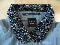 MAISON SCOTCH transparente Bluse mit Perlenkragen grau Gr. 1, 2, 3 o. 4  NEU