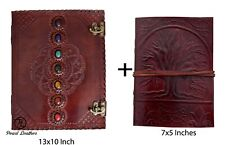 Seven Medieval Stone with Tree Leather Journal Handmade Book of Shadow Diary