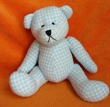 Gisela Graham Blue Gingham Cotton Teddy Bear Blue Soft Toy