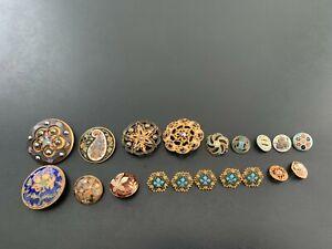 Lot of (19) Antique Vintage Enameled Buttons - BUTTON AUCTION #13