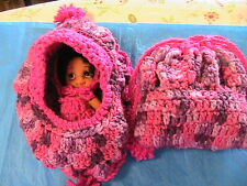 DOLL CRADLE PURSE removable BROWN BABY doll WITH clothes-PURPLE hand crochet