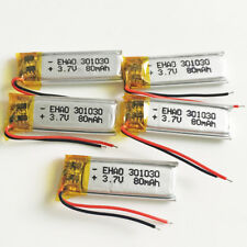 5 pcs 80mAh 3.7v Li-po rechargeable Battery 301030 For Mp3 GPS Bluetooth headset