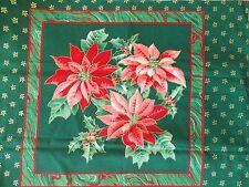 WtW Fabric Christmas Wamsutta Vintage Poinsettia Floral Holly Metallic Quilt