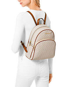 Michael Kors Backpack Bag Abbey Md Backpack Signature Vanilla 35F8GAYB2B