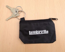 Lambretta GP-Li-SX TV Bolsa clave-Tipo de Cremallera-Key Ring. Negro con logotipo en blanco