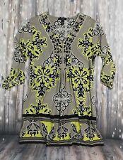 ALFANI dress size M long sleeve v-neck yellow paisley embellished party