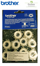 10 BROTHER PRE WOUND EMBROIDERY BOBBIN THREAD WHITE 60 Weight #60 11.5 Bobbins