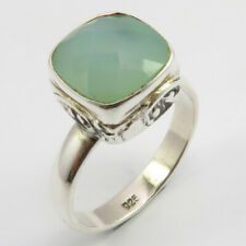 Sterling Silver Square AQUA CHALCEDONY Ring Sz 6 FREE SHIPPING Fashion Jewelry