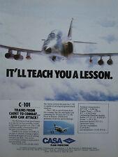 11/1986 PUB AVION CASA C-101 TRAINER COMBAT SPANISH AIRCRAFT ORIGINAL AD