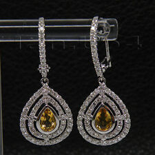 New Style Natural Diamond Citrine Earrings Solid 18kt White Gold Pear 4x6mm