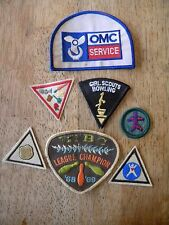 LOT OF 7 OLD PATCH PATCHES VINTAGE BOWLING GIRL SCOUT BADGE CAR SERVICE MAN