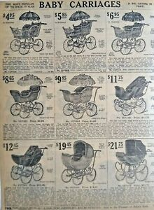 1911 Antique Baby Carriage Nursery Art Sears Catalog Page Vintage Print Ad