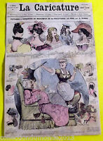Ancienne affiche la caricature XIX° ROBIDA,conquêtes de BEZUCHEUX de la FRICOTTI